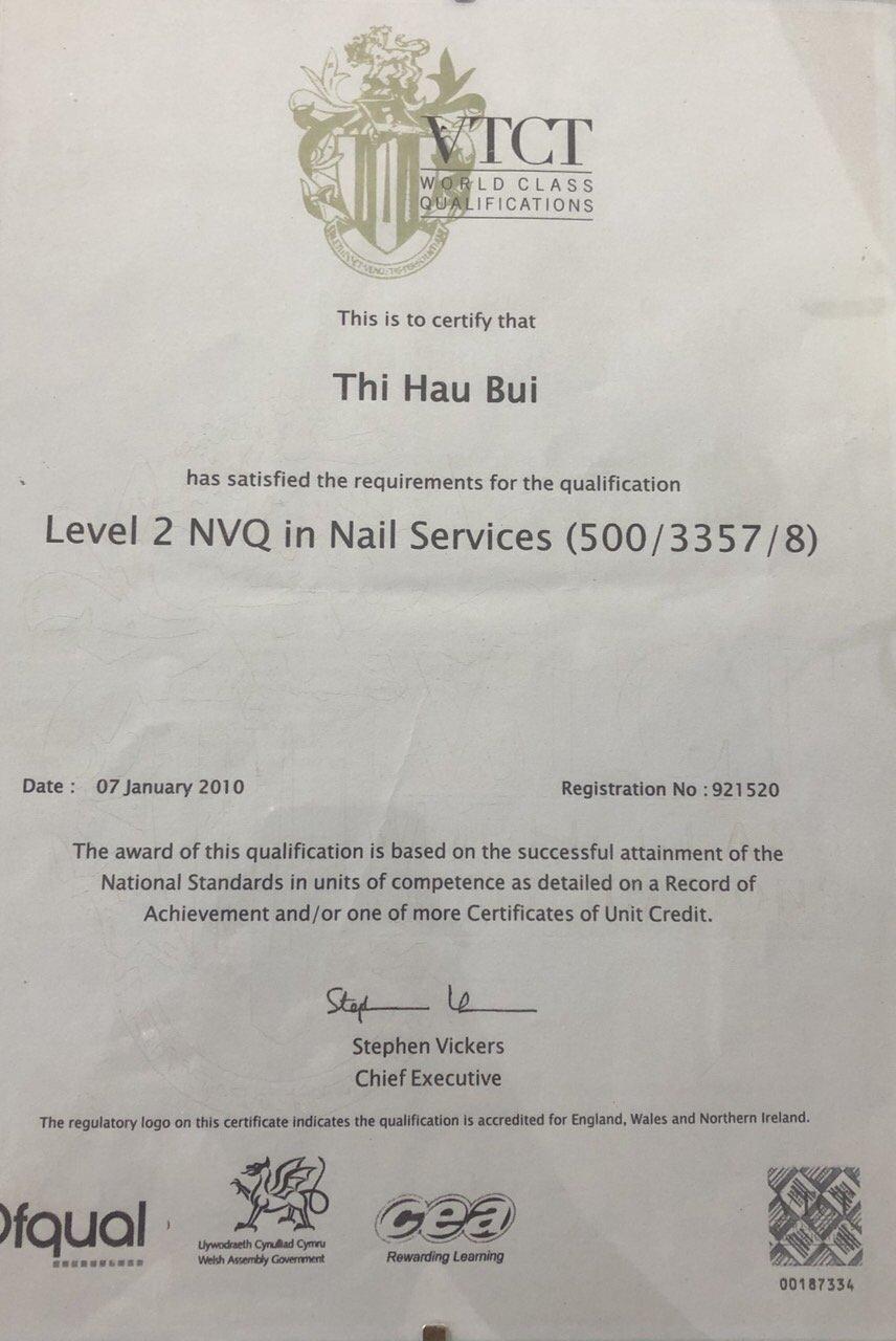 Nail technicians qualifications 1