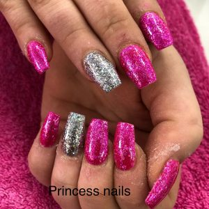 Bright Glitter Nail Designs On Nail Extension Set