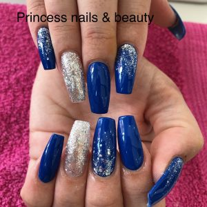 Dark Blue Nail Extensions With Glitter Designs