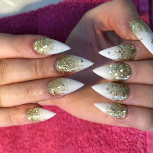 Glittering Ombre On Pointed White Nails