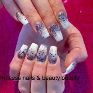 Glittering Ombre On Squared White Nails