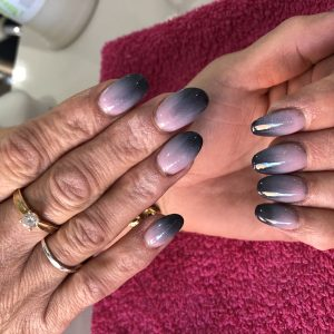 Ombre Nails Black Pale Pink Colour