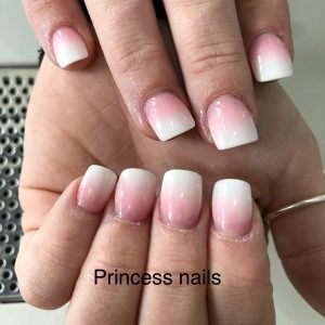 Ombre Pink And White Nail Extensions