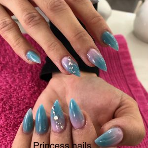 Ombre Pointed Nail With Stones On