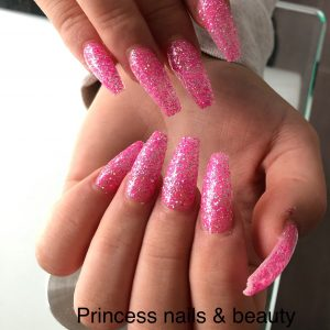 Pink Glittering Nail Design